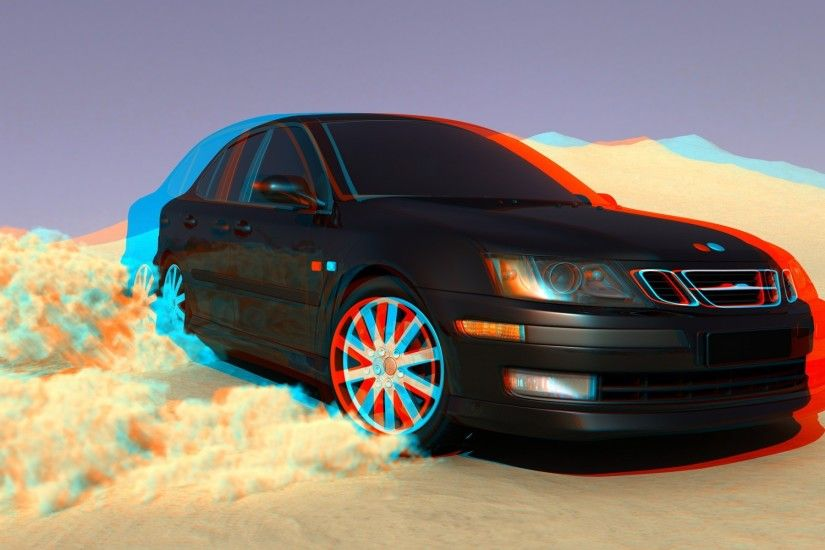 saab, Saab 9 5, 3D, 3d Picture, Car, Drift Wallpaper HD