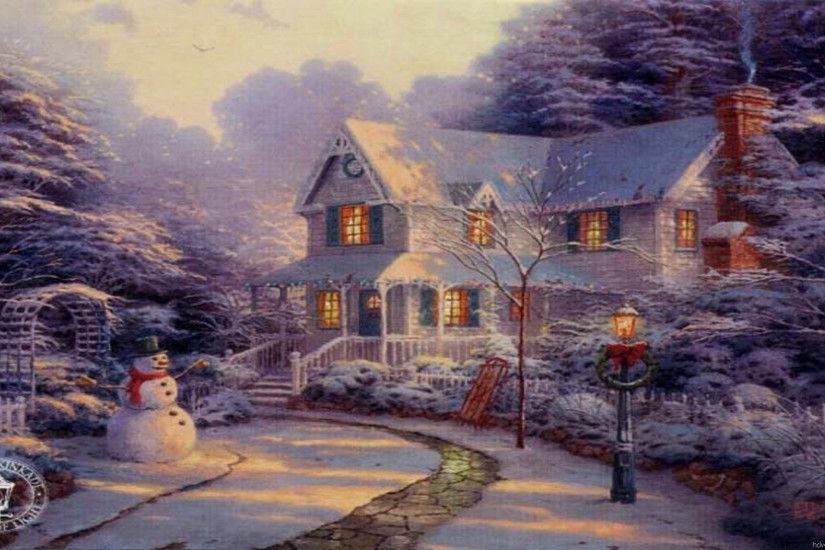 Charming Cottages & Gardens Thomas Kinkade Art Painting Wallpapers