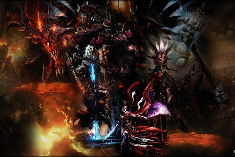 Preview wallpaper diablo 3, characters, magic, light, faces, diablo  1920x1080