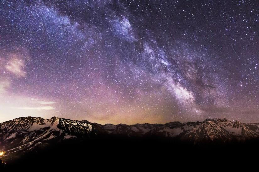 Milky Way Stars Snow Mountains 4K Ultra HD