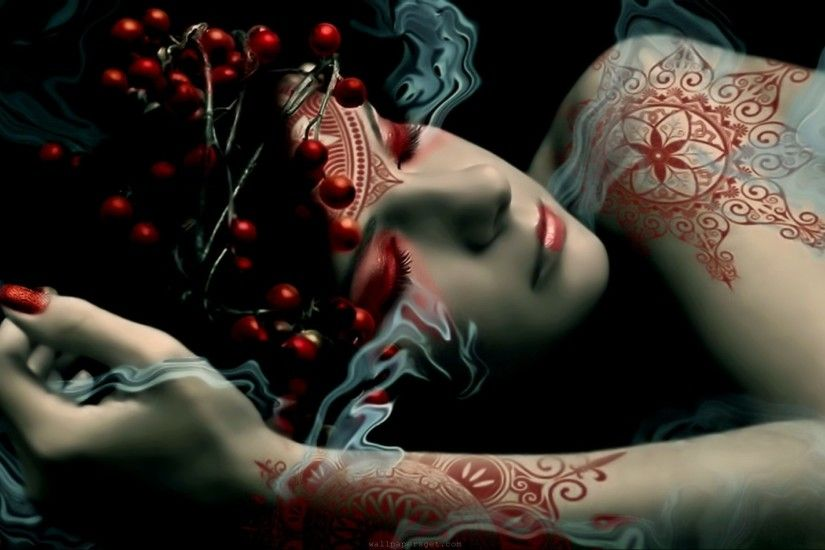 Women Fantasy Artwork Tattoo Design Digital Playground At 3d Wallpapers