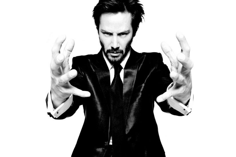 Actors Beard Black And White Celebrity Hands Keanu Reeves Men Suit  Background
