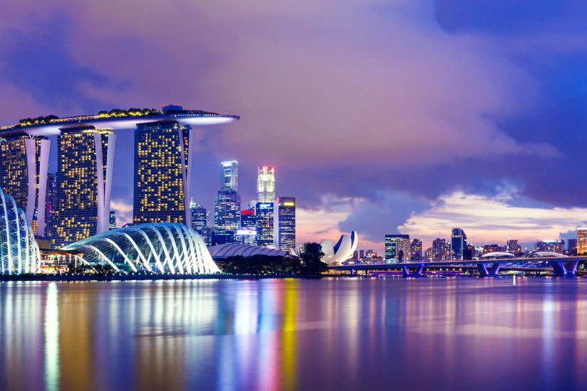 Marina Singapore Skyline at Night Wallpaper