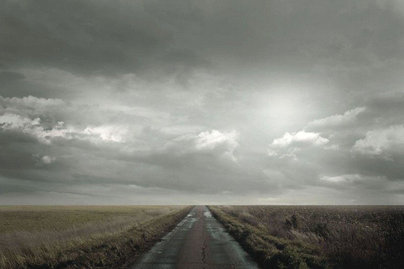 Download Wallpaper 2560x1600 road, field, clouds, cloudy, horizon .