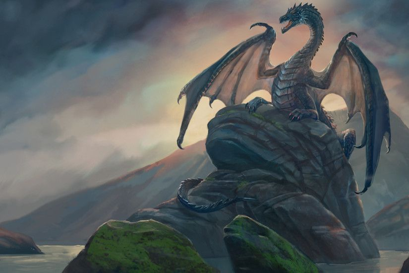 2560x1440 Wallpaper dragon, rock, art, stones