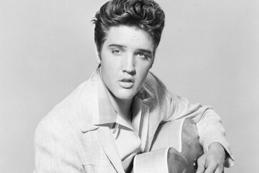 Preview wallpaper elvis presley, singer, musician, bw 3840x2160