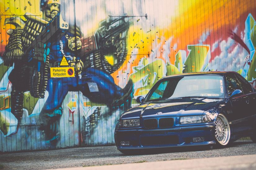 e36, bmw, m3, blue, stance, bmw, tuning, graffiti wallpaper