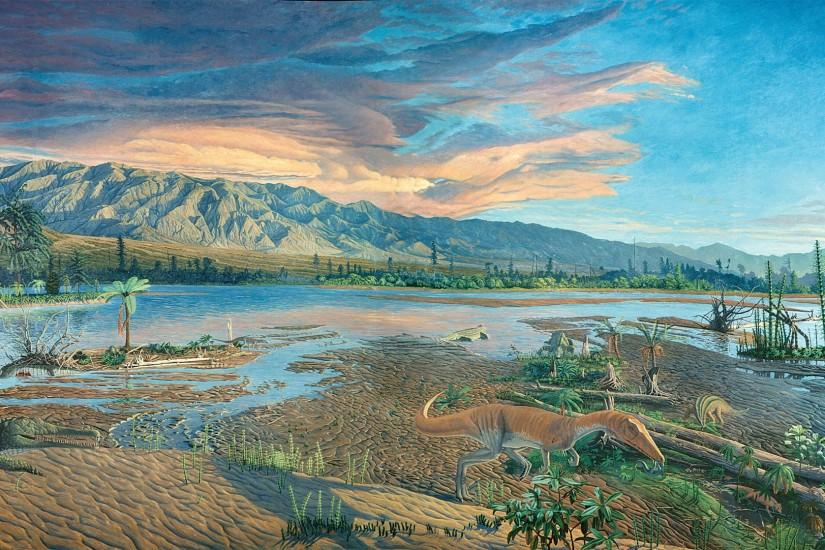 "In The Late Triassic, the background painting for the Dinosaur State Park  Triassic diorama, 1988/1991, 168"" x 348"" (click on the image for a higher  ..."