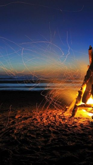 Camp Fire, Beach, Sparks, Night, Stars, Ocean, Horizon