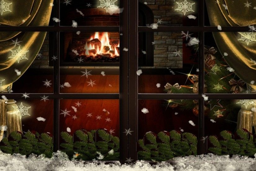 Christmas Tree Window Snowflakes Christmas Fireplace Hd Wallpaper .