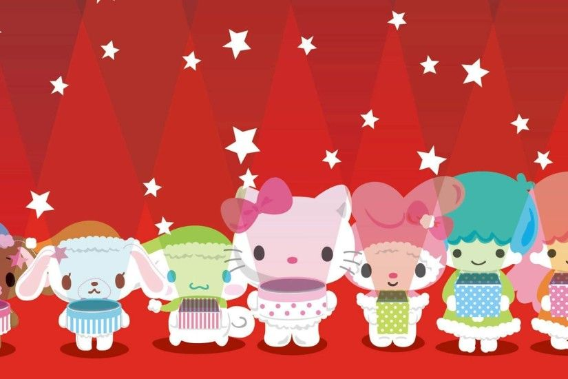 Stars with Hello Kittes Wallpaper