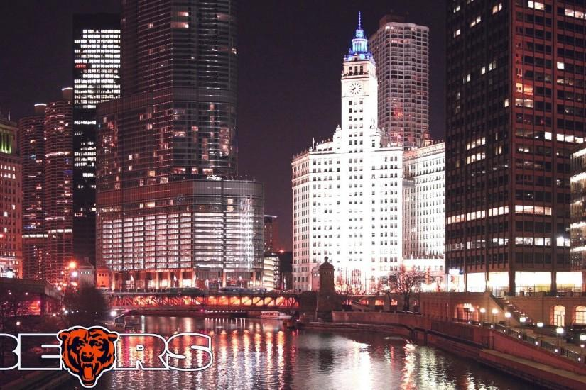 Chicago River Night Wallpaper. TAGS: Bears Chicago