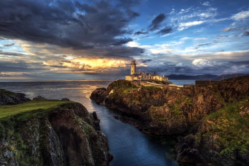 ireland seascape lighthouse ocean wallpaper
