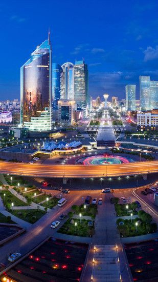 Astana city night Galaxy S6 Wallpaper