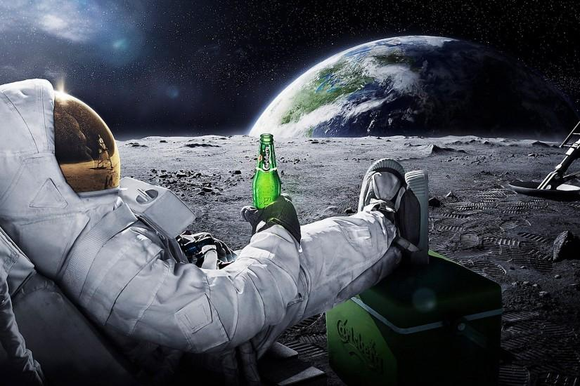 beers outer space Earth astronauts relaxing Carlsberg Moon Landing wallpaper