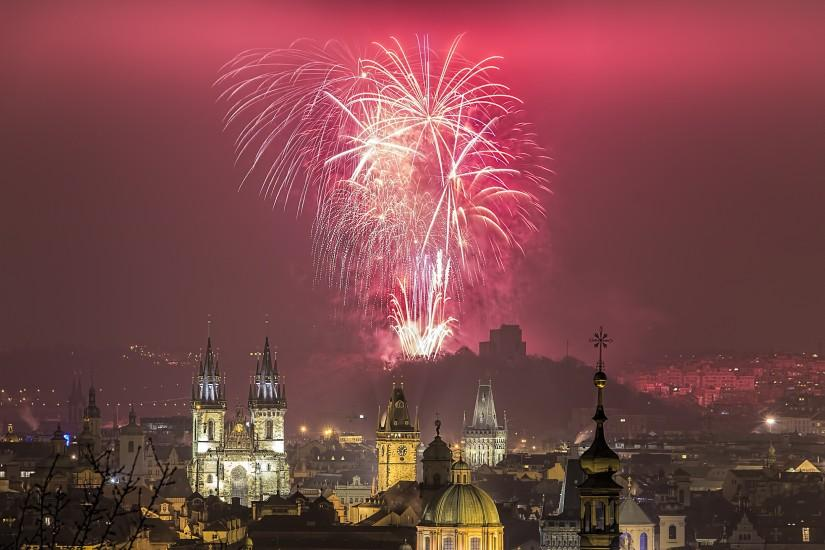 Prague new year 2016 fireworks over Prague Old Town panorama