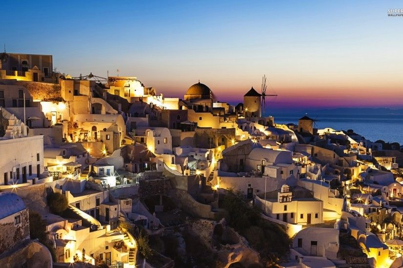 Greece Beaches At Night · Hd Wallpaper Santorini ...