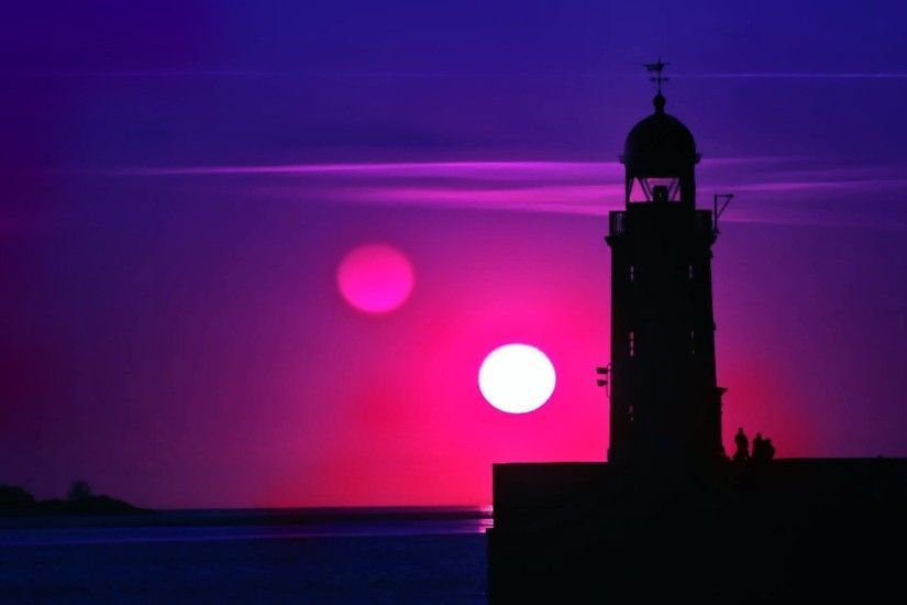 Purple sunset over a lighthouse wallpaper