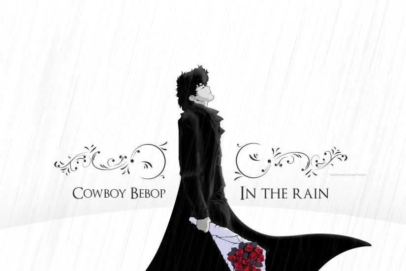 Preview wallpaper cowboy bebop, spike spiegel, guy, brunette, rain, flower,