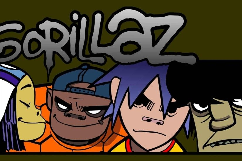 Preview wallpaper gorillaz, letters, members, faces, look 2560x1440