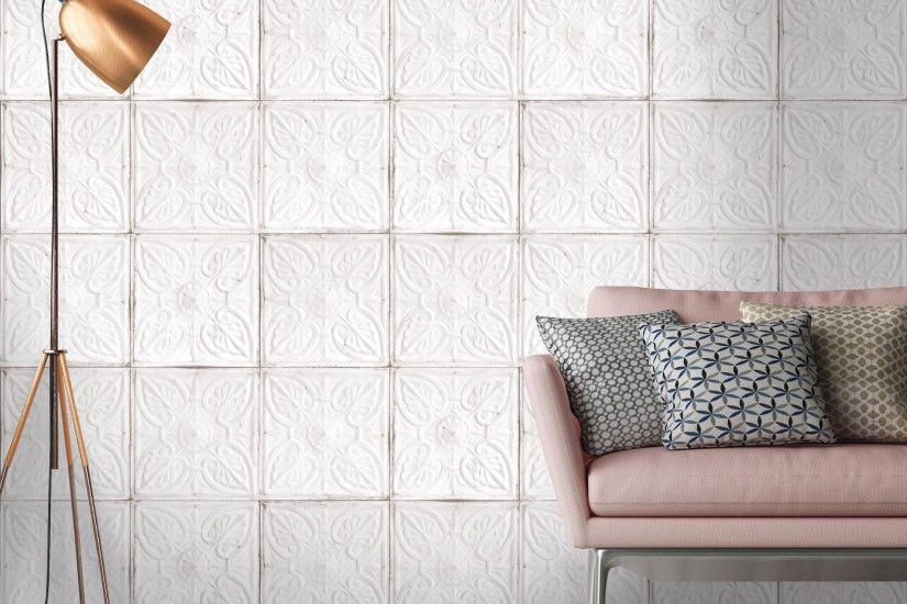 Tin Tile Wallpaper in White by Woodchip & Magnolia