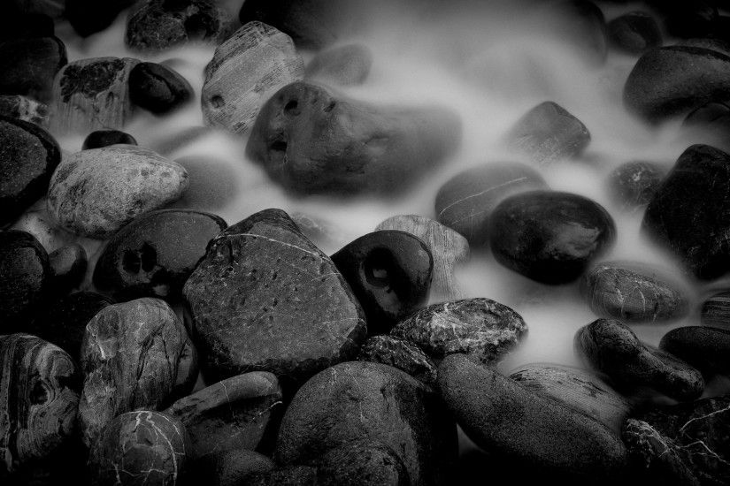 Wallpaper Stones, Wet, Black white HD, Picture, Image