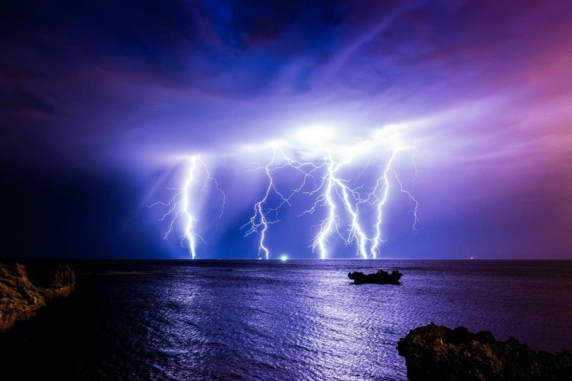 australia ocean the storm lightning storm night clouds nature