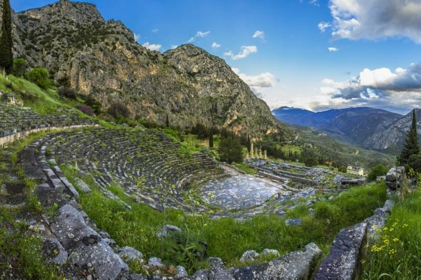 Preview wallpaper greece, delphi, mountain, grass, sky 1920x1080