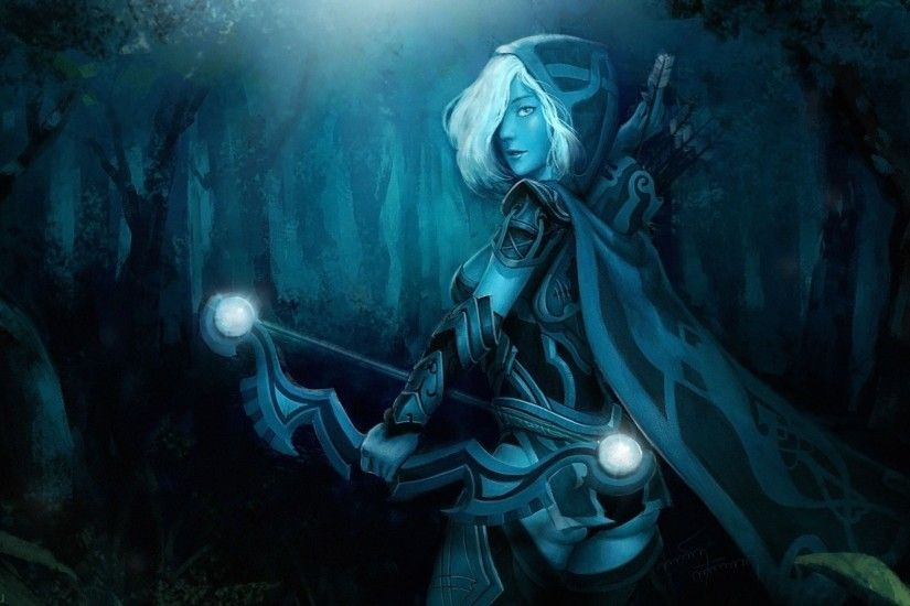 Heroes are illustrated on this Dota 2 wallpaper: Drow Ranger