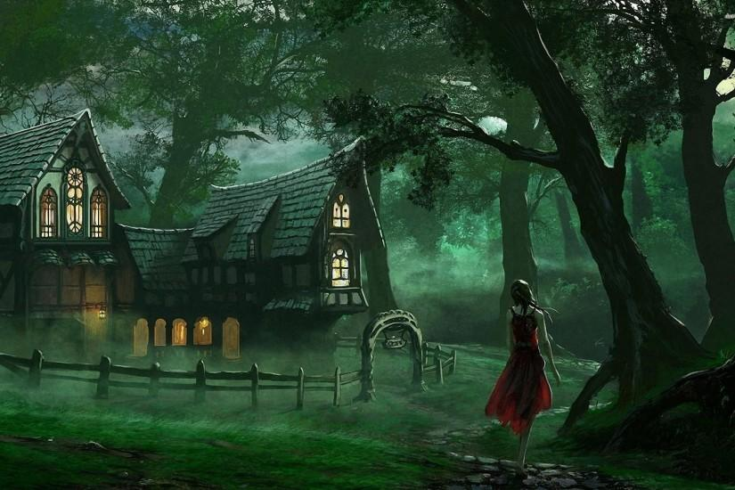 Creepy Red Riding Hood and the wolf wallpaper - 971964