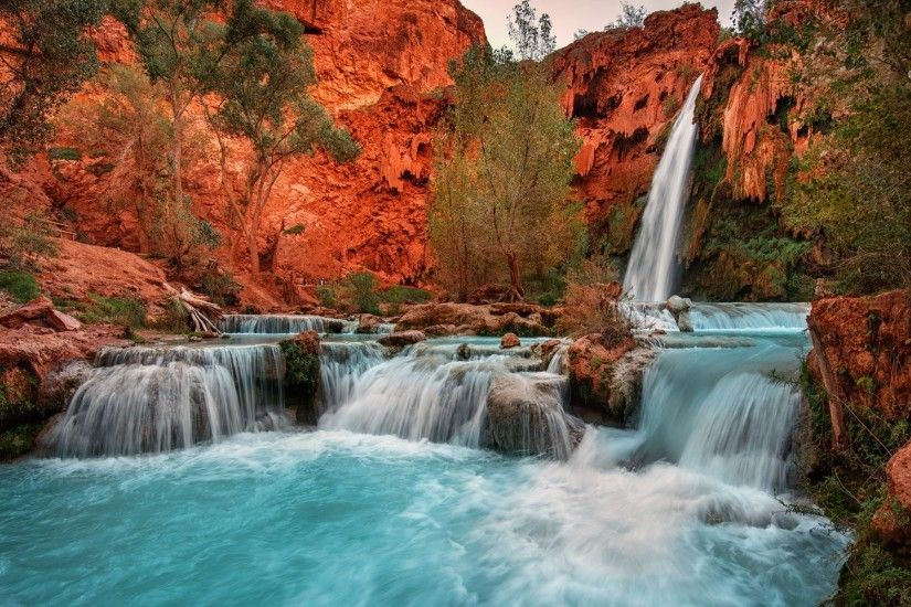 nature, Landscape, Waterfall, Red, Rock, Arizona, Trees, Pond, Cliff, Blue,  Picnic, Erosion Wallpapers HD / Desktop and Mobile Backgrounds