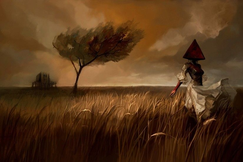 silent hill silent hill the field girl piromidogolovy pyramid-head dress  wind tree picture landscape