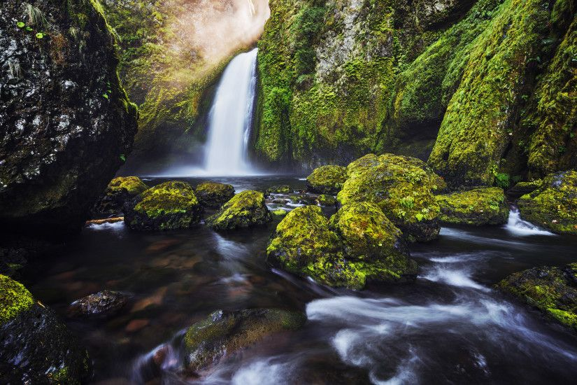 Green Moss Waterfall 4K