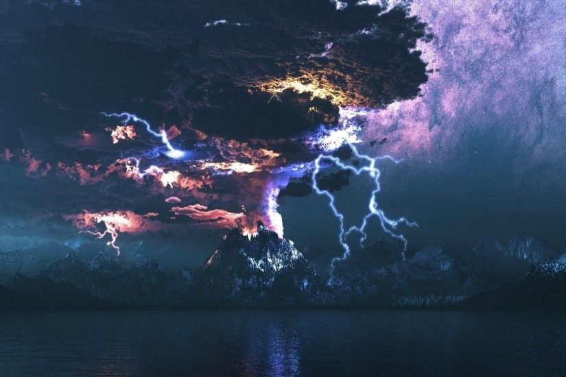 Lightning over the volcano eruption HD Wallpaper 1920x1080