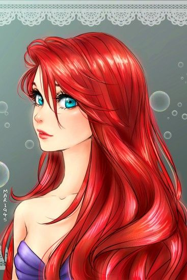 Ariel [as a mermaid] (Drawing by Mari945 @deviantART) #TheLittleMermaid