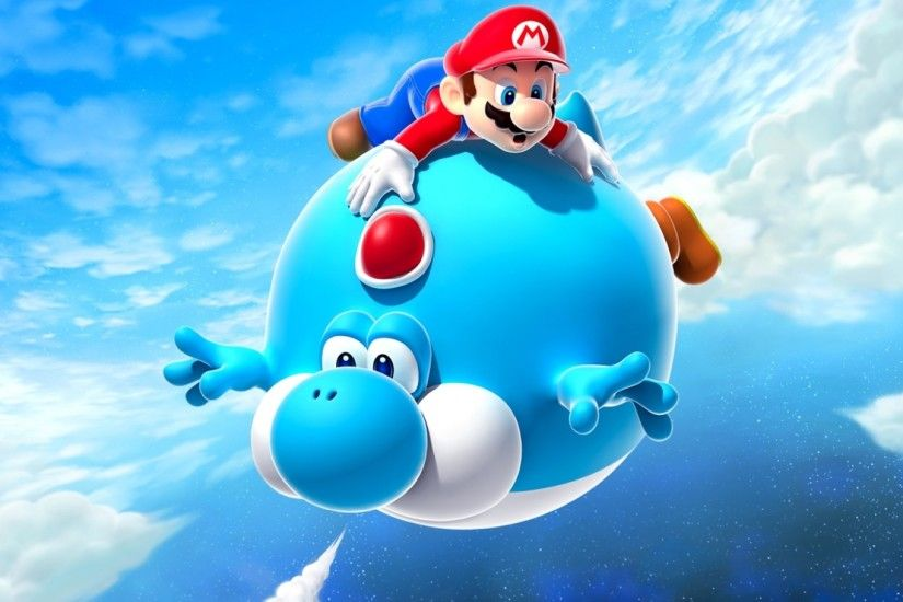 Preview wallpaper mario, air balloon, yoshi, blue, super mario galaxy 2  1920x1080