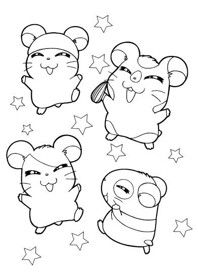 1483x2079 Hamster Hamtaro anime coloring pages for kids, printable free