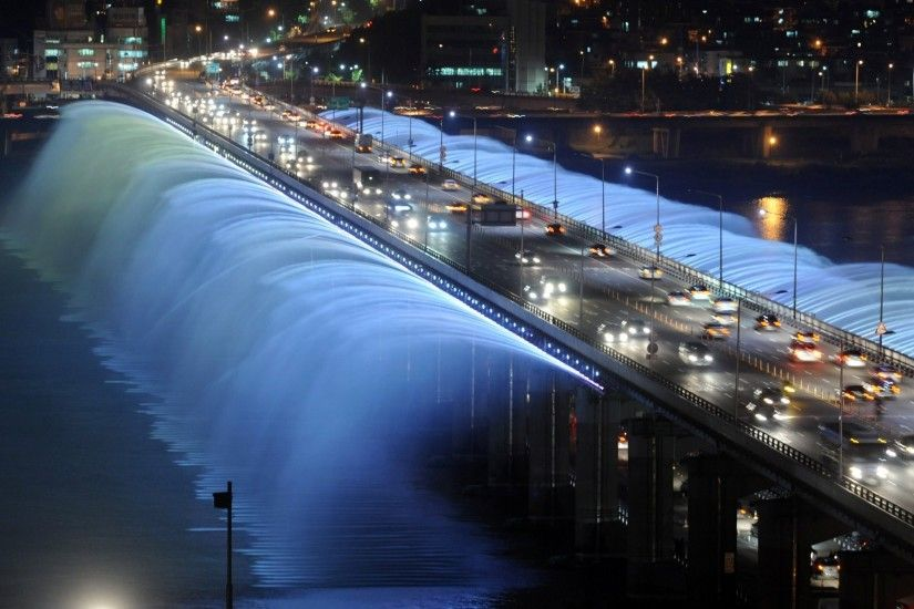 rainbow fountain seoul south korea bridge fountain night lights