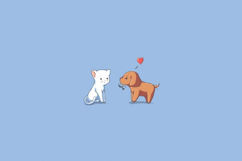 1920x1200 Wallpaper dog, cat, kitten, puppy, drawing, heart