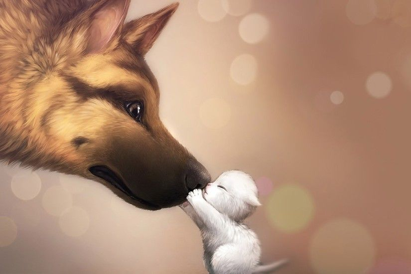 Kitten and dog wallpaper