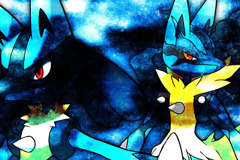 Glench 28 1 Lucario + Mega Lucario Wallpaper by Glench