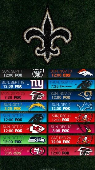 2016 New Orleans Saints Football Schedule Wallpaper for Iphone or Android  device