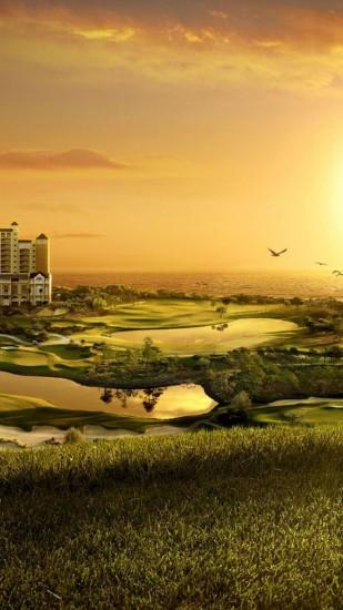 Preview wallpaper building, golf, decline, evening, cool, original, fields,