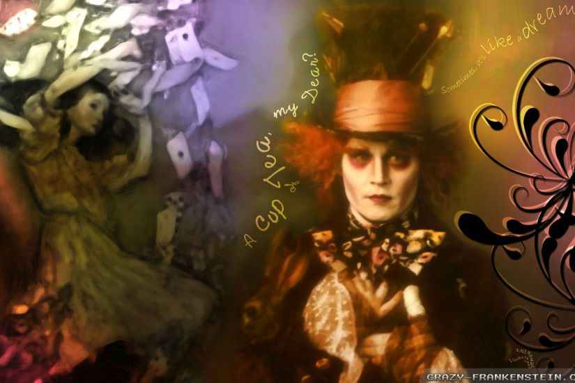 Wallpaper: Mad Hatter Alice in wonderland movie. Resolution: 1024x768 |  1280x1024 | 1600x1200. Widescreen Res: 1440x900 | 1680x1050 | 1920x1200