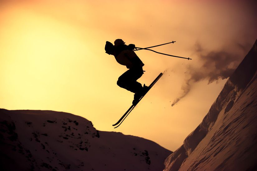 winter-mountain-slope-the-guy-skiing-sports-extreme-sports-extreme -sun-rays-sunset-photo-wallpaper-background