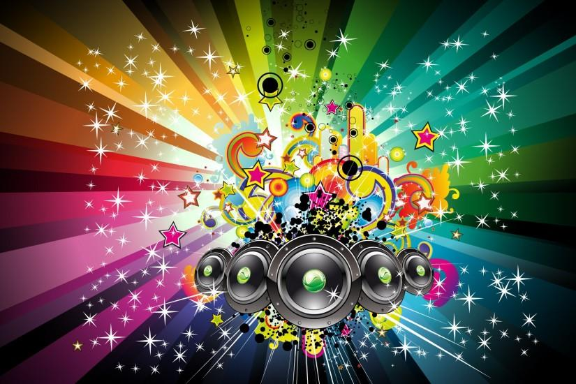 Speakers and rainbow shapes wallpaper - 510170