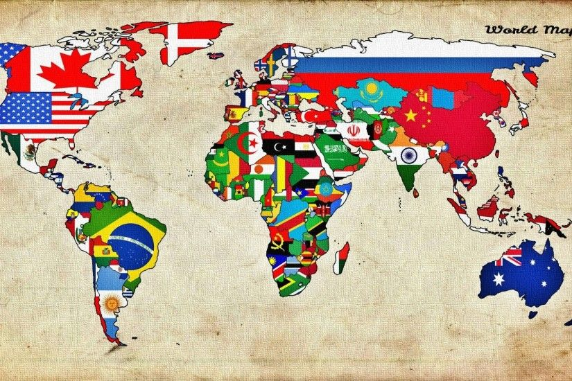 Maps World Countries Flags