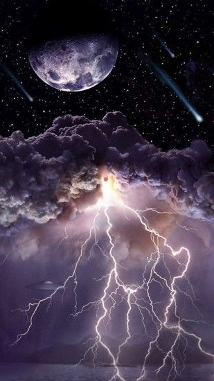 Moon Asteroids Storm Clouds Lightning Android Wallpaper.jpg (1080×1920)