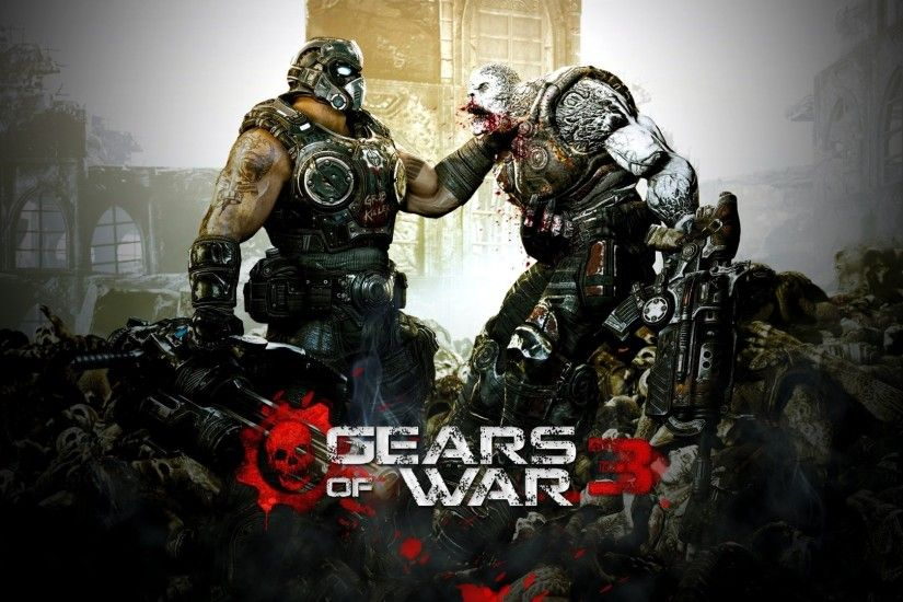 Preview wallpaper gears of war 3, character, monster, gun, soldier 3840x2160