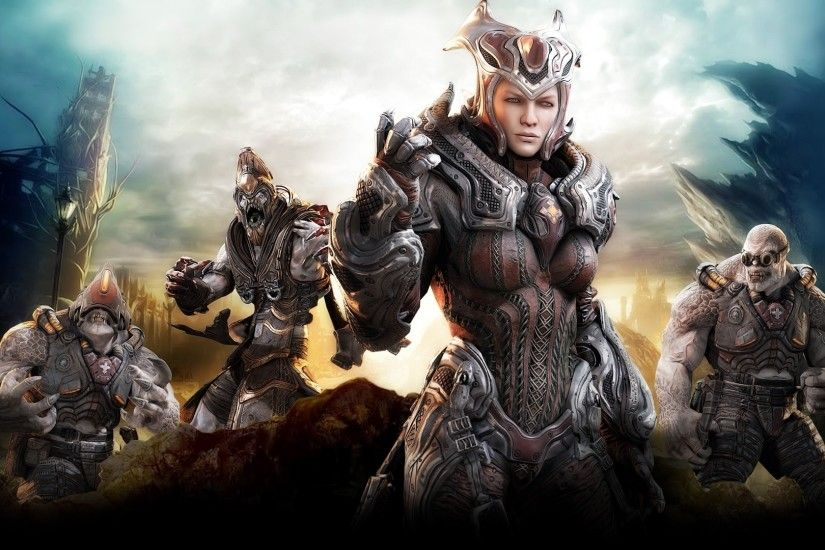 Preview wallpaper gears of war, character, girl, monsters, sky, anya stroud